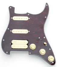 Humbucker equipped HSS wired Pickguard- Cream on Tortoisehshell!