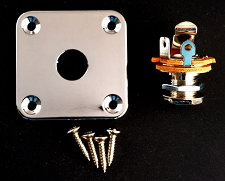 Square Output Plate- Fits Les Paul®, Telecaster® Fit- FREE jack and screws!