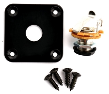 Square Black Output Plate- Fits Les Paul®, Telecaster® Fit- FREE jack and screws!