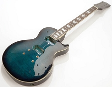 Glued-In Neck, QUILTED MAPLE Top, LP Style- Fully Assembled and Finished - Blue-Burst