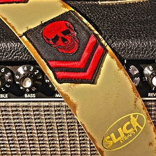 Slickstraps Embroidered Patch Leather Strap- Military Skull- Ivory