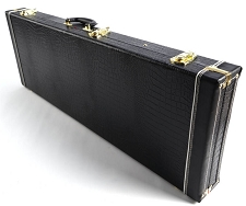 PREMIUM Crocodile Hardshell Case - Fits Strat®/Tele® - BLACK PLUSH Interior
