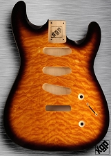 XGP Arched Top Strat Body Quilt Maple 3 Singles Sunburst