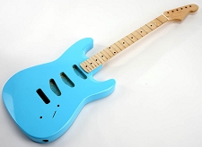 SPECIAL PURCHASE! Daphne Blue Double-Cutaway GLUED-IN Setneck, 3 single coils TOP MOUNT, Maple F/B