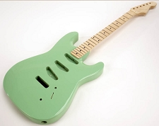SPECIAL PURCHASE! Surf Green Double-Cutaway GLUED-IN Setneck, 3 single coils TOP MOUNT, Maple F/B