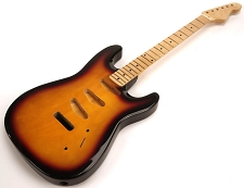 SPECIAL PURCHASE! Sunburst Strat Style GLUED-IN Setneck, 3 single coils TOP MOUNT, Maple F/B