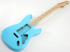 SPECIAL PURCHASE! Daphne Blue Strat Style GLUED-IN Setneck, Swimming Pool Rout TOP, Maple F/B