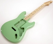 SPECIAL PURCHASE! Surf Green Strat® Style GLUED-IN Setneck, Swimming Pool Rout TOP, Maple F/B