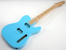 SPECIAL PURCHASE! BOUND Daphne Blue Tele Style GLUED-IN Setneck, 2 Humbucker Maple F/B