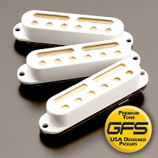 KP - GFS Gold Foil Single Coil Strat Pickups, White - Kwikplug™ Ready