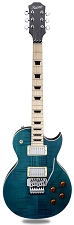 MAPLE FINGERBOARD! XV555 Double Locking Tremolo Flamed Maple LP Ocean Blue