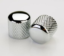 2 Chromed Knurled Brass Tele® Knobs for Split Shaft Pots