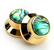 Gold Bell Knobs Real Abalone Tops