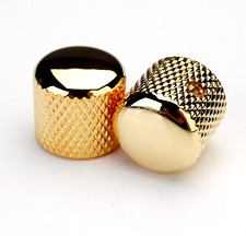 Gold Knurled Brass Tele® Knobs for Split Shaft Pots -