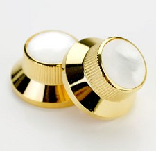 Skirted Solid Brass Gold Knobs with Mother of Pearl Tops
