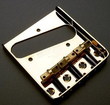 Wilkinson Compensated Bridge - Fits Telecaster® - Gold with Brass Saddles
