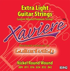 Full case of 12 Sets .009-.042 Extra Light Xaviere Guitar Strings