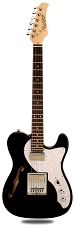 XV-845 Black Thinline Tele Alder Body Gold Foil Pickups Rosewood Fingerboard