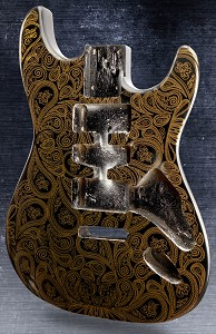 Black and Gold Paisley Stratocaster® Style Body HSH Super Lightweight