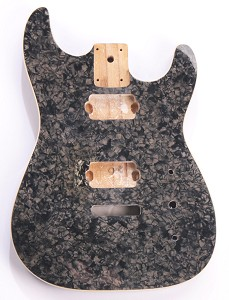 Mother of Pearl  Double-Cutaway Body, Tremolo Rout,  2 Humbucker Charcoal Celluloid, Cream Binding