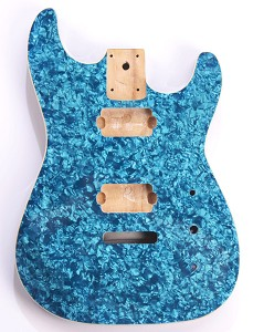 Mother of Pearl Double-Cutaway Body, Tremolo Rout, 2 Humbucker Blue Celluloid, Cream Binding