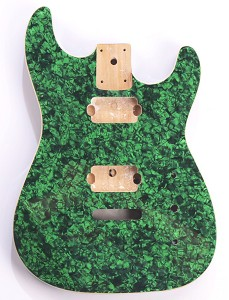 Mother of Pearl Double-Cutaway Body, Tremolo Rout,  2 Humbucker Green Celluloid, Cream Binding
