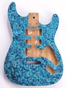 Mother of Pearl Strat Body, Tremolo Rout,  HSH Blue Celluloid, Cream Binding