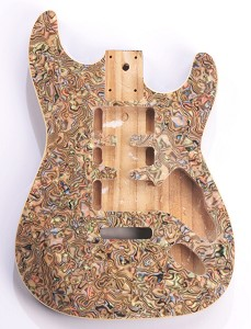 "Mother of Pearl Strat Body, Tremolo Rout,  HSH Swirled ""Comic Book"" Celluloid, Cream Binding"