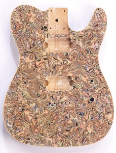 "Mother of Pearl Single-Cutaway Body 2 Humbuckers Swirled ""Comic Book"" Celluloid, Cream Binding"