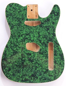 Mother of Pearl Single-Cutaway Body Green Celluloid, Cream Binding, Single Coil Routed