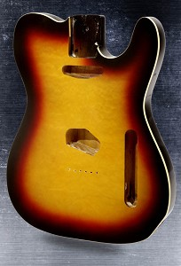 Telecaster Style body Bound Quilt maple top with binding 3-Tone Sunburst