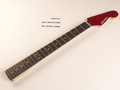 Strat® Style Rosewood Neck for Bolt On Bodies 22 fret Candy Apple Red Finished Headstock