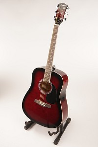 Red Burst Finish Acoustic Dreadnought Style Guitar Rosewood Fretboard 20 Fret