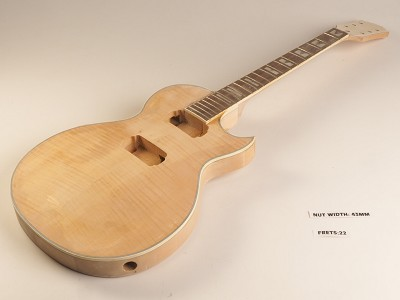 Unfinished Single Bound Single Cutaway Style Guitar Rosewood Fret Board 2 Humbucker 22 Fret Twisted Neck As Is Guitar