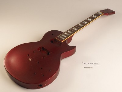 Red Metallic Single Cutaway Style Guitar Rosewood Fret Board 2 Humbucker 22 Fret Twisted Neck As Is Guitar
