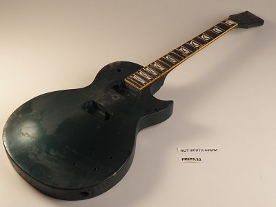 Dark Green Single Cutaway Style Guitar Rosewood Fret Board 2 Humbucker 22 Fret Twisted Neck As Is Guitar