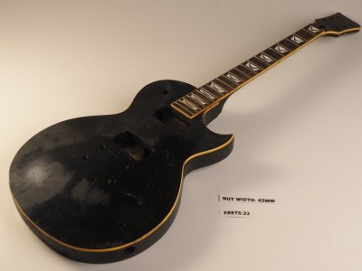 Black Single Bound Single Cutaway Style Guitar Rosewood Fret Board 2 Humbucker 22 Fret As Is Guitar