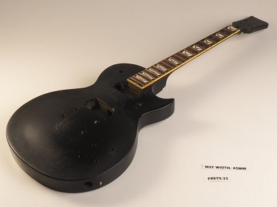 Black Single Cutaway Style Guitar Rosewood Fret Board 2 Humbucker 22 Fret Twisted Neck As Is Guitar