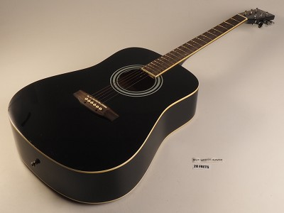 Black Acoustic Dreadnought Style Guitar Rosewood Fretboard 20 Fret