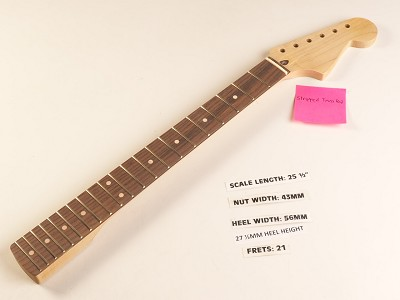 Double Cutaway Rosewood 21 Fret Neck - STRIPPED TRUSS ROD