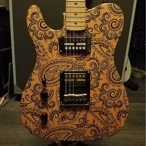 By Brian C -- Custom Tele with GFS Gold Foil Humbuckers