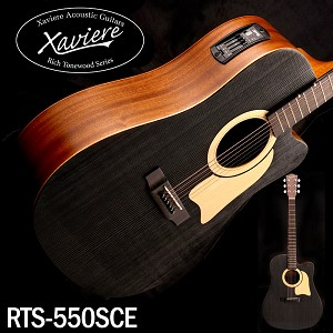 Xaviere ALL WOOD Black Acoustic/Electric Cutaway Raised Grain Dreadnaught
