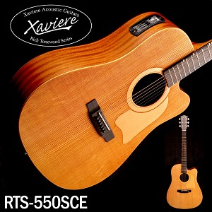Xaviere ALL WOOD Amber Acoustic/Electric Cutaway Raised Grain Dreadnaught