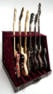 "Premium ""Brown Crocodile""  6 Guitar Case- Folds to Briefcase! OUR BEST!"