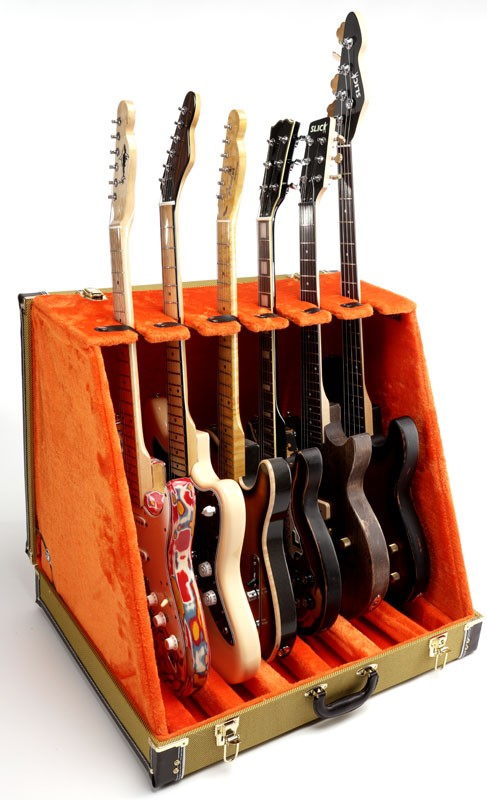 a76cf1a6e3 Professional Real Tweed 6 Guitar Folding Case- Folds to briefcase!