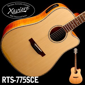 Flamed Maple Dreadnaught Xaviere Alaskan Spruce Top cutaway Acoustic/Electric