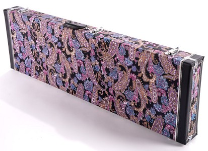 "PREMIUM Cloth ""Psychedelic Paisley"" Black/Purple P/J Bass Hardshell  Case-  Our Best!"
