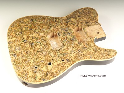 "Blem - Mother of Pearl Single-Cutaway Body 2 Humbuckers Swirled ""Comic Book"" Celluloid, Cream Binding"