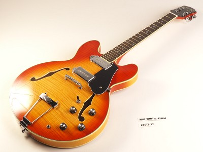 "BLEM - XV-910 Semi Hollowbody Flamed Maple Alnico P90s ""Vintage Amber"" - NO STRINGS"