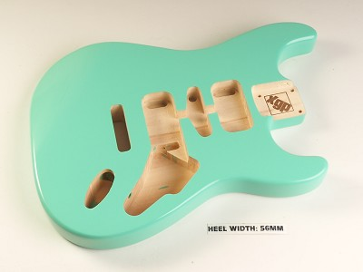 Blem - Strat Body HSH Routing Fits 11.3mm USA spec tremolo, White Poplar, Surf Green